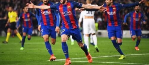 Sergi Roberto festejando el gol de la remontada