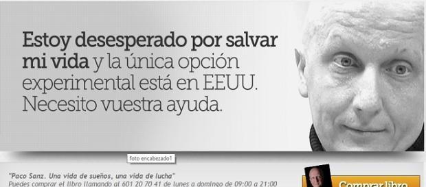 Imagen de la web de Paco Sanz promocionando su libro