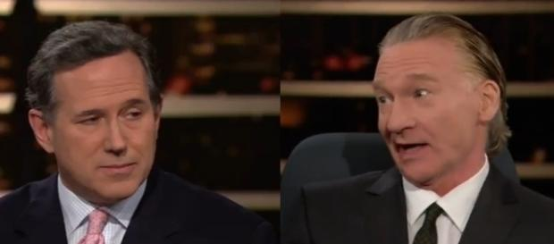 Bill Maher and Rick Santorum, via YouTube