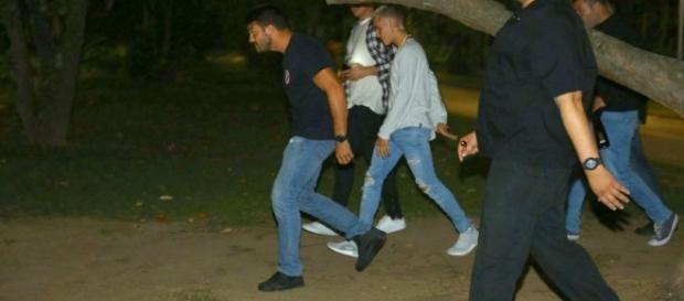 Justin Bieber e seus seguranças após ataque