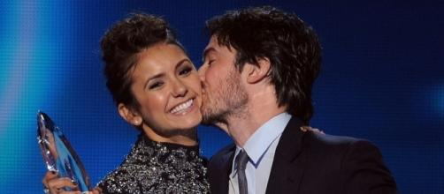 Ian Somerhalder proves he's still friends with ex Nina Dobrev. Nikki Reed not happy about it? (via Blasting News library)