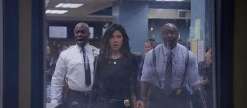 "The 99th precinct will undergo an audit in the hands of Amy's ex, Teddy, on tomorrow's ""Brooklyn Nine-Nine."" (via FOX)"