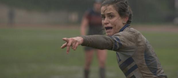 Sara García, jugadora del Olímpico de Pozuelo R.C. en un partido por la Copa de Madrid de rugby. Fotografía Raúl García.