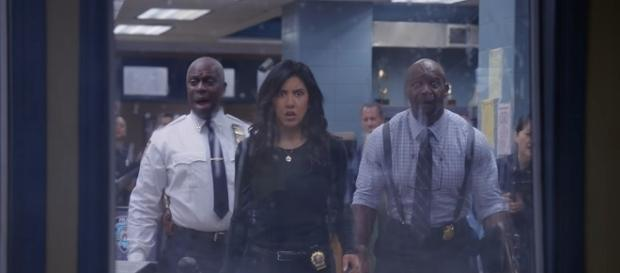 "The 99th precinct will undergo an audit in the hands of Amy's ex, Teddy, on tomorrow's ""Brooklyn Nine-Nine."" (via FOX)"