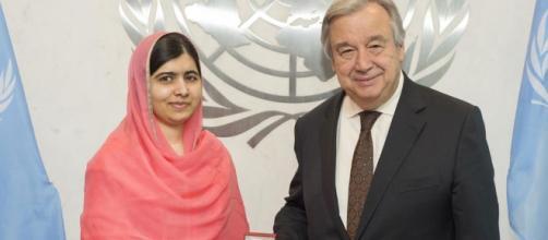 A sinistra il premio Nobel e Messaggero di Pace Malala Yousafzai, a destra il Segretario Generale Antonio Guterres | http://www.un.org/