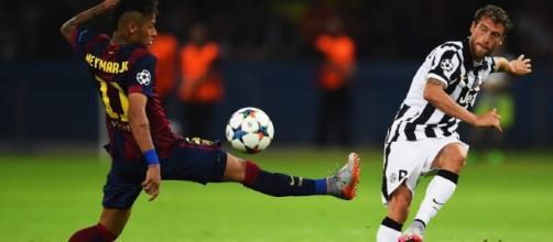 In foto il blaugrana Neymar Jr. ed il bianconero Claudio Marchisio