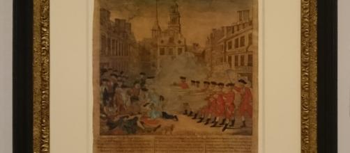 Paul Revere (U.S.A. 1735-1818) / Henry Pelham (U.S.A. 1749-1806). La masacre sangrienta (1770). Huecograbado coloreado a mano. Colec. Rosenwald, 1943.