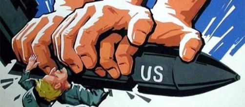Un'immagine slogan della Corea del Nord contro gli Usa