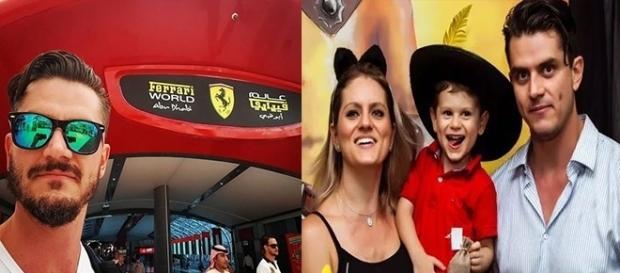 À esquerda Marcos em Abu Dhabi e à direita com a irmã e o sobrinho