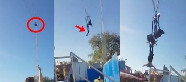 Nas imagens é possível ver a jovem presa no brinquedo prestes a cair.