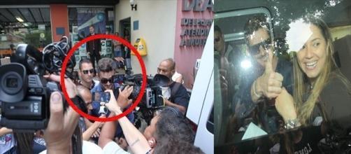 Tumulto de fãs marca a ida de Marcos à delegacia