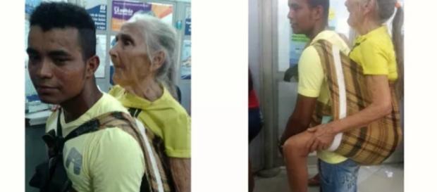 Jovem carrega senhora nas costas para ajudá-la - Google