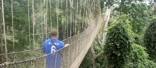 A ponte Canopy Walk em Gana, localizada dentro do Parque Nacional Kakum