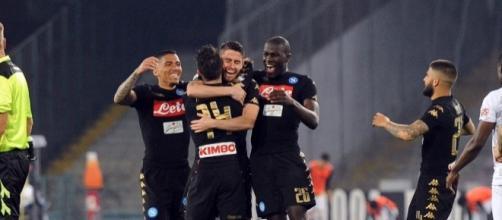Il Napoli festeggia dopo il gol - FOTO: SSC Napoli