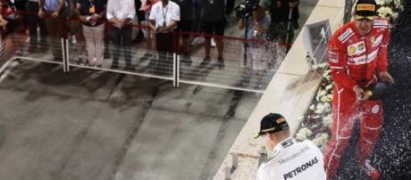 Sebastian Vettel sprays the rose water after winning in Bahrain for Ferrari. (Source: BBC Sport)