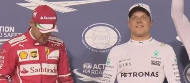 Beaming Bottas (white) with Vettel (red), Formula 1 Youtube channel https://www.youtube.com/watch?v=-Mlmqn3NrRc