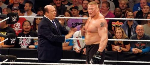 Paul Heyman and Brock Lesnar/ Photo via Miguel Discard, Flickr