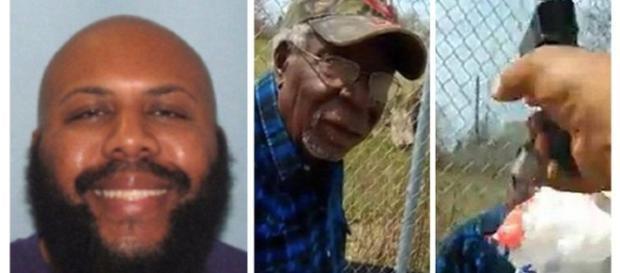 À esquerda o assassino, à direita a vítima, no momento da execução