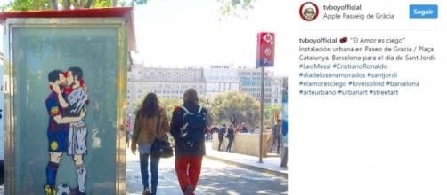 """""""El amor es ciego"""" para Messi y Cristiano. (Instagram: @tvboyofficial)."""