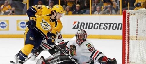 Fialla pudo definir el juego en OT para los Predators. NHL.com.
