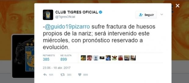 Pizarro es duda para los siguientes encuentros de Tigres.