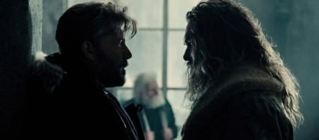 """Ben Affleck's Bruce Wayne stares down Jason Momoa's Arthur Curry in the upcoming """"Justice League."""" (via YouTube/Warner Bros. Pictures)"""