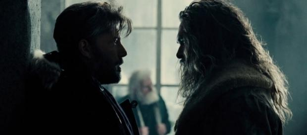 "Ben Affleck's Bruce Wayne stares down Jason Momoa's Arthur Curry in the upcoming ""Justice League."" (via YouTube/Warner Bros. Pictures)"