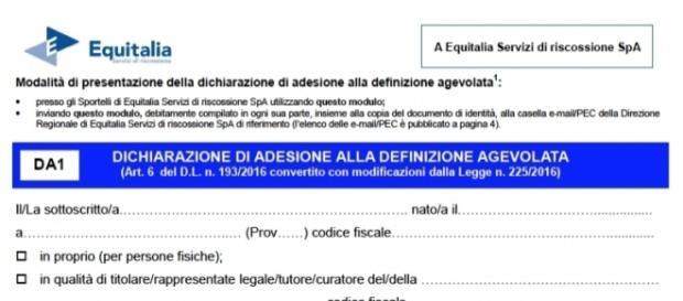 Modulo DA1 per la rottamazione delle cartelle Equitalia: dove e come presentarlo (https://www.gruppoequitalia.it)