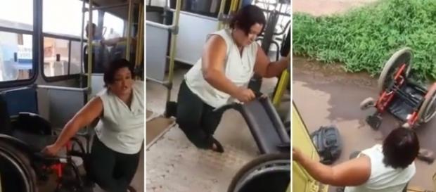 Sem ajuda, mulher joga a cadeira de rodas