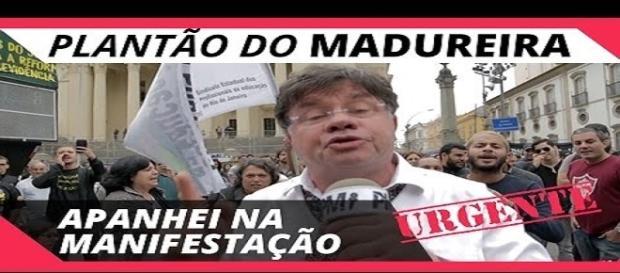 Marcelo Madureira durante a greve geral no Rio de Janeiro
