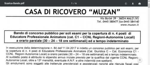 Concorso educatori Casa di Riposo Muzan, Vicenza