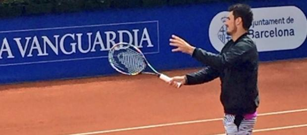 Bernard Tomic on Tuesday at the Barcelona Open. Photo by BcnOpen BancSabadell (@bcnpenbs) Twitter