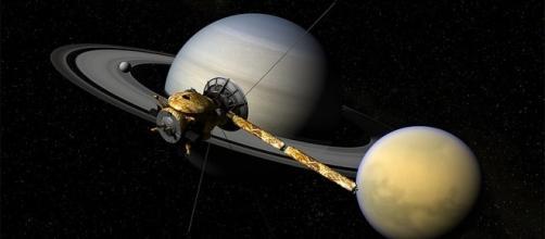 """Cassini, Titan & Saturn"", Kevin Gill (Flickr), Maya & Photoshop, by Kumanchick, Christian Lopez, NASA/JPL-Caltech"