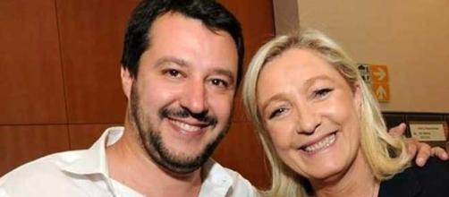 Matteo Salvini in compagnia di Marine Le Pen