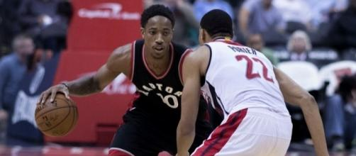 DeRozan in action, Flickr, Keith Allison CC BY-SA 2.0 https://www.flickr.com/photos/keithallison/30114485494