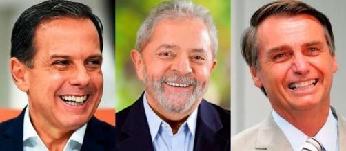 Joao Doria, Lula e Jair Bolsonaro e Marina Silva figuram como principais candidatos à presidência em 2018