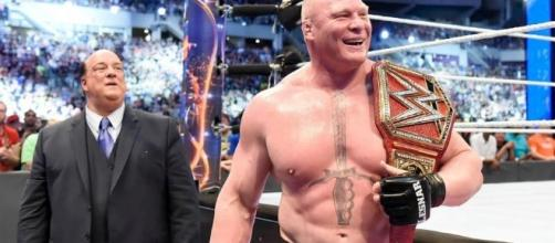 WWE Universal Champion Brock Lesnar will defend the title in July. [Image via Blasting News image library/inquisitr.com]