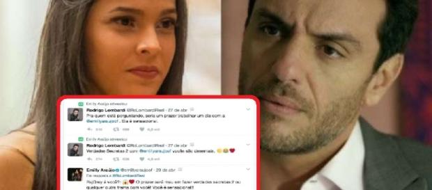 Emilly responde perfil falso de Rodrigo Lombardi sobre Verdades Secretas, e vira piada na internet