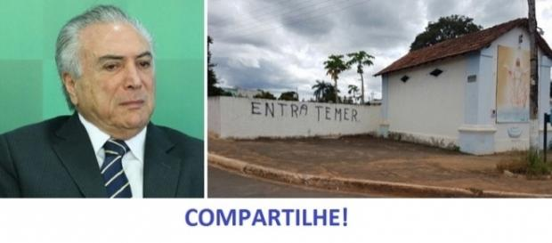 Funcionário de cemitério faz protesto contra o presidente Michel Temer