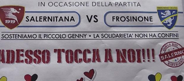 In foto il manifesto creato dagli ultras della Salernitana per aiutare Genny