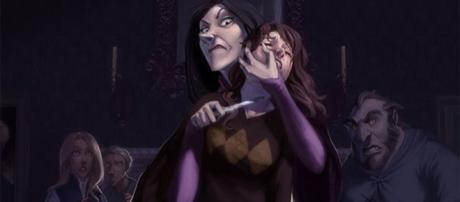 Belatriz interroga Hermione sobre a espada de Gryffindor (Reprodução/DeviantArt/Makani)
