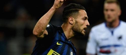 Danilo D'Ambrosio sigla il momentaneo 1-0. Inter-Sampdoria