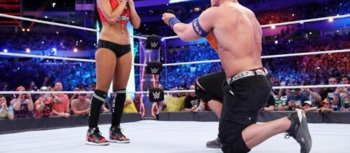 John Cena proposes to Nikki Bella after WrestleMania match./Photo via WWE