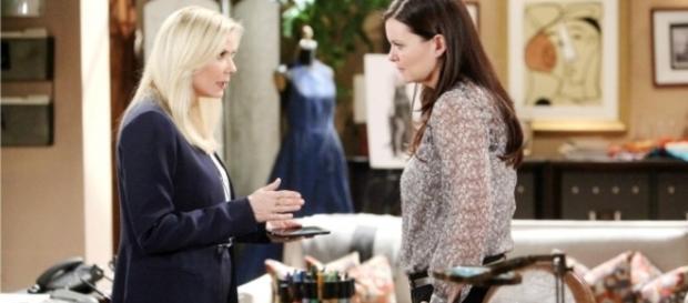 Brooke told Quinn to keep quiet about Ridge and Quinn - via CBS.com