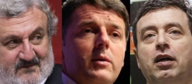I tre protagonisti delle primarie Pd, Emiliano, Renzi e Orlando