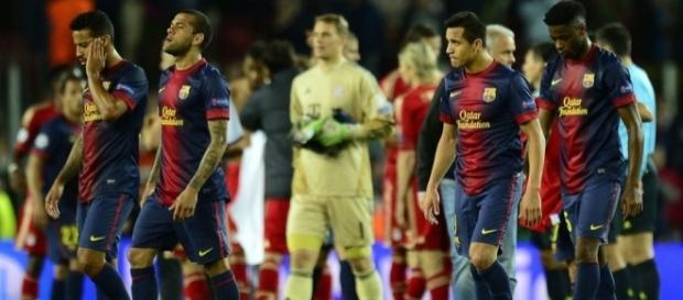 Jugadores del Barça en el partido ante el Bayern