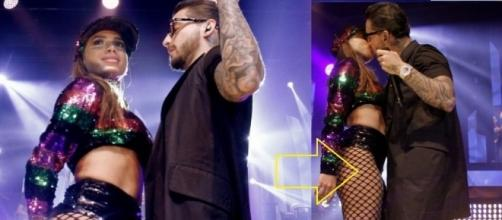 Anitta faz show com Maluma com direito a selinho e detalhe que chamou atenção dos fãs