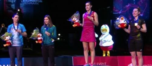 Carolina Marín gana a la escocesa Kirsty Gilmour en la final del europeo de bádminton y se proclama campeona por tercera vez.