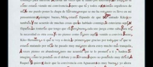 Carta que envió Belén Esteban a sus compañeros mientras se encontraba en gh vip
