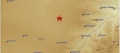 Terremoto 6.5 nello stato del Botswana, Africa Meridionale.